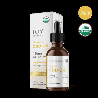 JOY ORGANICS | CBD Oil 1350mg Lemon Flavored - USDA Approved