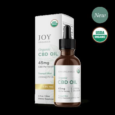 JOY ORGANICS | CBD Oil 1350mg Mint Flavored - USDA Approved