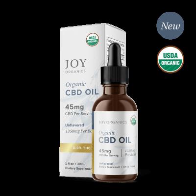 JOY ORGANICS | CBD Oil 1350mg Unflavored - USDA Certified