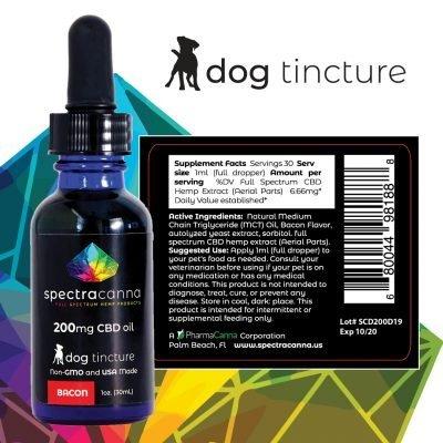 SpectraCanna 200mg Full Spectrum Dog Formula CBD Oil - Bacon Flavored
